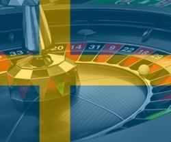 Rouletthjul med svensk flagga