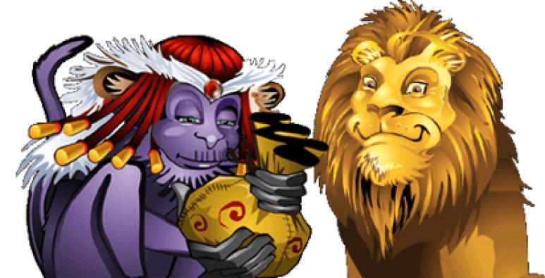lejon och lila apa