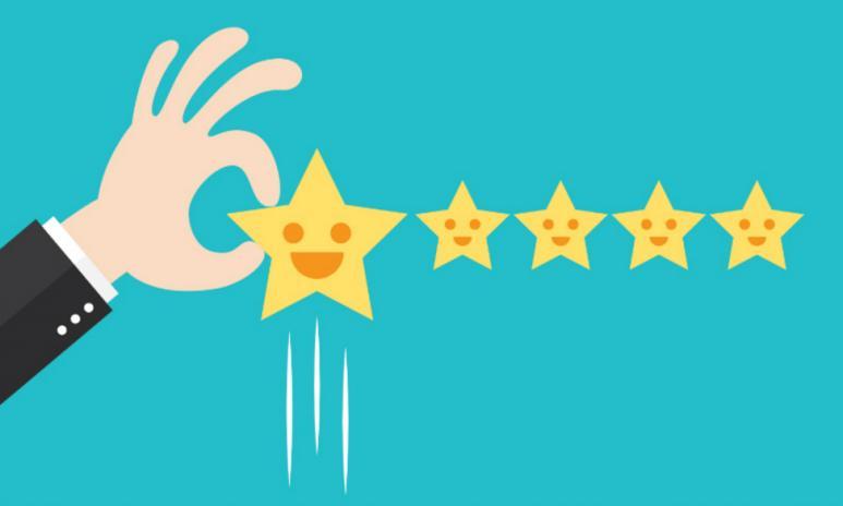 5 stjärnor med ansiken, hand som lyfter första stjärnan. Animerad.